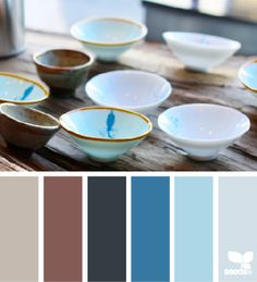 bowled hues by Design seed / Color palette / color variation / Sky blue, Navy, Ivory, Aquamarine blue, grey tones Colour Pallette, Colour Schemes, Color Combos, Color Patterns, Kallax, Pantone, Design Seeds, Colour Board, Color Swatches
