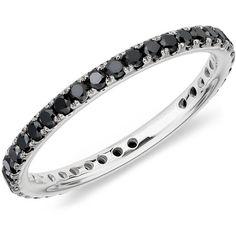 Blue Nile Black Diamond Eternity Ring in 18K White Gold ($468) ❤ liked on Polyvore