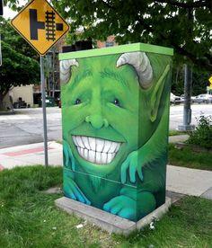 David Zinn - Utility box art at the corner of First & Liberty