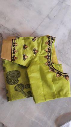 Varna Embroidery work 8125015102 Wedding Saree Blouse Designs, Pattu Saree Blouse Designs, Blouse Designs Silk, Designer Blouse Patterns, Kids Blouse Designs, Simple Blouse Designs, Kutch Work Designs, Sleeve Designs, Work Blouse