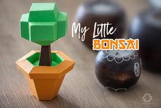 "I'm very happy to share with you ""My Little Bonsai"". This is a fun DIY Papercraft Template. Origami Star Box, Origami Love, Origami Fish, How To Make Origami, Origami Design, Diy Origami, Modular Origami, Origami Folding, Origami Instructions"