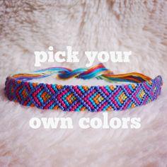 Friendship Bracelet - MADE TO ORDER: Braided Handmade Embroidery Floss Fiber Friendship Bracelet - Art Deco Half Diamonds
