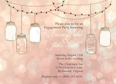 Bokeh Lights Vintage Hanging Mason Jars Custom Rehearsal Dinner, Wedding Shower, Engagement Party Invitation - Gold Brown Pink Elegant Chic