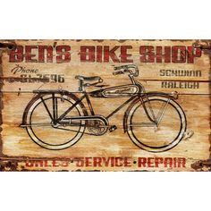 Ben's Bike Shop Wall Art from the Red Horse Signs event at Joss and Main