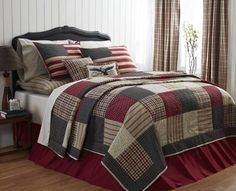 Victory King Quilt, by Victorian Heart. The Victory Collection features a patchwork of homespun print fabrics in a patriotic palette of barn red, off-white, taupe, and colonial blues. This is for the KING sized quilt. Machine pieced, hand quilted. Measures 105 x 95 inches. 100% cotton shell and fill. Other coordinating pieces also available!