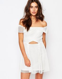 Image 1 of Missguided Bardot Grid Lace Prom Dress