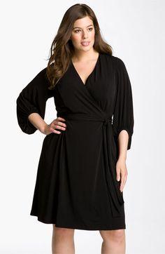 63579970018 Donna Ricco Faux Wrap Jersey Dress (Plus Size)