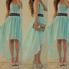 Love high low skirts and the midwaist belt is too cute and the nude shoes look great with that color