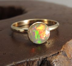 Opal Solid 14k Gold Ring Opal Engagement ring