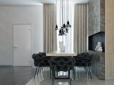 Interior Design, Cream Drew The Curtain Black Concrete Lamp Dinning Armchair Cream Dinning Table White Vase Porcelain Floor Kitchen Room And Brow Wooden Floor ~ Comfortable Home Interior Design: Decorate Your Ceiling with Lighting