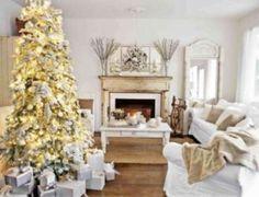 Decoração de Natal da Sala - Branco e dourado