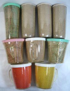 9 Vintage Burlap Straw Weave Raffia Ware Melmac Various Size Cup/Glass Lot TiKi