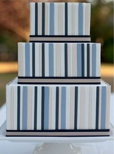 preppy striped wedding cake by AK Cake Design Striped Cake, Patterned Cake, Birthday Cakes For Men, Fondant Figures, Preppy Wedding Cakes, Geometric Cake, Striped Wedding, Gold Wedding, Wedding Hair