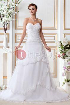 すてきなA-ライン/プリンセススイートハートネックチャペルウェディングドレス