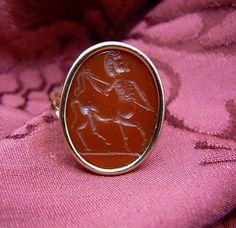 Carnelian Intaglio Ring CHIRONE Centaur - Gold 18 kt - Hand made - Dogale Jewellery Venice Italia