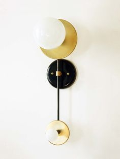 Double Wall Brass Sconce Lamp Wall Light Fixture by DLdesignworks
