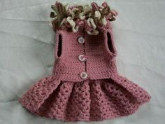 Crocheted Pet Dog Cat Clothes Apparel Sweater Coat Dress with Ruffles Pink XS | eBay