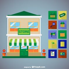 Store Icons Set Free Vector