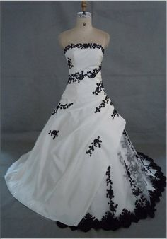 white and black embroidery wedding dress ASB3280-in Wedding Dresses from Apparel  Accessories on Aliexpress.com