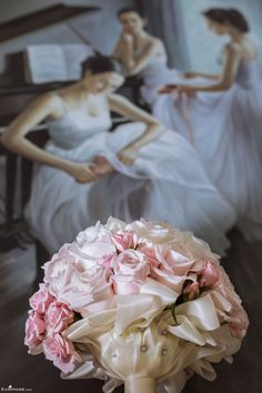 Pale Pink and White Roses Bridal Bouquet. Summer Wedding Toronto