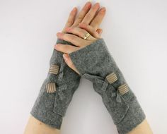 grey arm warmers fingerless mittens wrists warmers by piabarile, $25.00