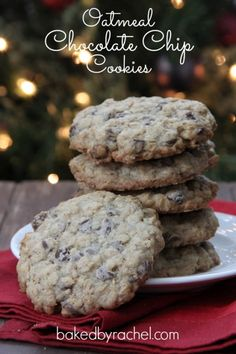 Oatmeal Chocolate Chip Cookie Recipe from bakedbyrachel.com Santa's favorite cookie!