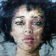 Harding Meyer (b. 1964), oil on canvas {figurative #impressionist art beautiful female head woman face portrait texture grunge painting #loveart #2good2btrue}