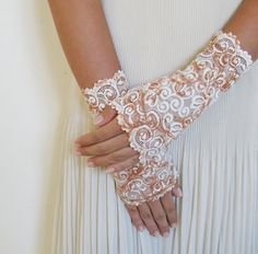 Victorian  cream lace gloves cuffs mittens lace by MySecretFace, $26.00
