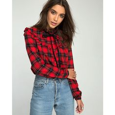 Murray Shirt in Red and Black Plaid by Motel ($19) ❤ liked on Polyvore featuring tops, red and black plaid shirt, tartan shirt, red and black shirt, tartan plaid shirt and tartan top