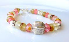 Beaded Quartz Gemstone Bracelet  Faceted by JemsbyJBandCompany