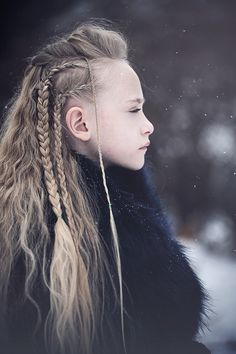 Vikings inspired braided long hair winter portrait Buffalo NY Kristen Rice shield maiden Lagertha warrior child fur #viking #lagertha #fashion #winterfashion #children #braidstyles #vikingstyle #vikingshistory