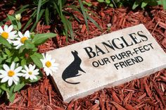 Personalized Natural Stone Engraved Travertine paver with the name of your beloved pet for memorializing your companion