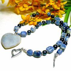 Blue Sodalite and Jasper Heart Pendant with Swarovski Night Blue Crystal Pearls - Bead Style Magazine