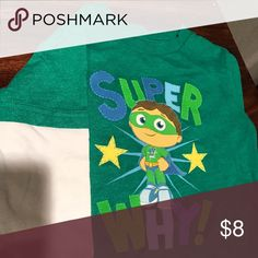 """Superwhy"" Longsleeve shirt Boys 3T green ""superwhy"" long sleeve shirt with white sleeves Shirts & Tops Tees - Long Sleeve"