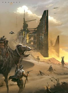 Desert nomads with large industrial buildings in the background.