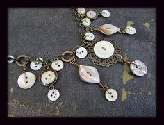 OOAK Vintage Button Necklace Antique Brass Adjustable Length