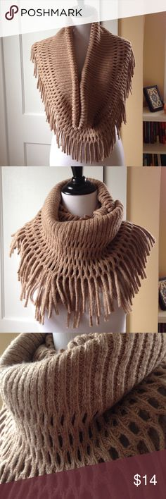 STEVE MADDEN Metallic Knit Infinity Scarf This gorgeous metallic, open knit, fringed infinity scarf and cowl will keep you warm and stylish! Excellent used condition! Steve Madden Accessories Scarves & Wraps