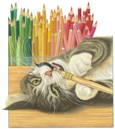 Trademark Art 'Gray Cat Over Pencils' Acrylic Painting Print on Wrapped Canvas Art And Illustration, Illustrations, Color Pencil Art, Grey Cats, Art Themes, Here Kitty Kitty, Art Graphique, Fine Art, Cat Drawing