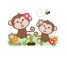 GIRL MONKEY DECAL Safari Nursery Jungle Animals Wall Art Stickers Baby Room Decor Shower Gift Decorations #decampstudiso
