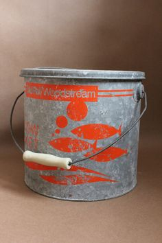 Vintage WoodStream Minnow Bucket.