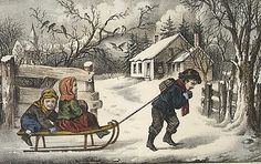 Currier & Ives (American, active New York, 1837–1907). A Ride to School, 1857–1907. The Metropolitan Museum of Art, New York. Bequest of Adele S. Colgate, 1962 (63.550.356) #snow