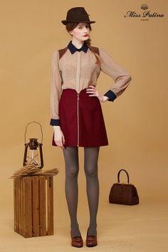 Gymkhanna Skirt (Maroon) Baker Street Blouse (Navy Collar) (2)