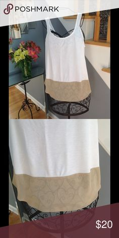 Ann Taylor Tank Top Ann Taylor white and tan tank top. In excellent condition. Worn twice. Ann Taylor Tops Tank Tops