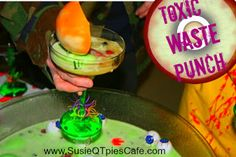 Toxic Waste Halloween Drink Recipe from SusieQTpies Cafe Punch Recipes, Alcohol Recipes, Raw Food Recipes, Fall Recipes, Drink Recipes, Halloween Punch, Halloween Drinks, Halloween Ideas, Halloween Party