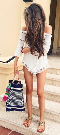 lace romper // tassel beach bag // Tory Burch sandals