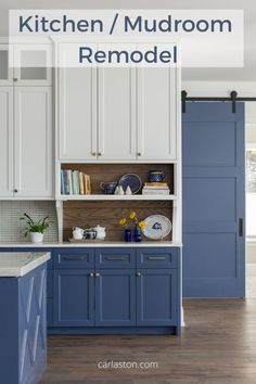 Kitchen and Mudroom Remodel - Blue and white with warm wood and grays are featured in this fabulous kitchen and mudroom. The mudroom bathroom is super cool too! Carla Aston, Designer | Colleen Scott, Photographer Kitchen Island With Legs, Antique Kitchen Island, Rustic Kitchen, New Kitchen, Kitchen Islands, Kitchen Ideas, Kitchen And Bath Remodeling, Kitchen Remodel, Kitchen Cabinetry