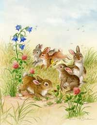 """Five Bunnies"", by American artist and illustrator - Ruth Sanderson - ) Illustration Mignonne, Cute Illustration, Bunny Art, Cute Bunny, Decoupage Vintage, Vintage Art, Cute Images, Cute Pictures, Old Illustrations"
