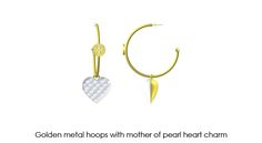 Mother of pearl inlay into a golden metal heart charm. Pair of earrings. Project designed #VisionOfJewels by #ThierryRegnier for Tory Burch