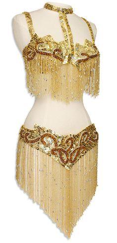 Gold Sequin & Fringe Turkish Bra & Belt Belly Dance Costume - At DancingRahana.com