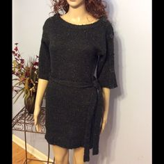"Sweater Dress or Tunic Beautiful to wear either way....big buttons accent the half sleeves. Tie waist. No flaws! Length 31"". Dark brown-black color with tan flecks. Dresses"